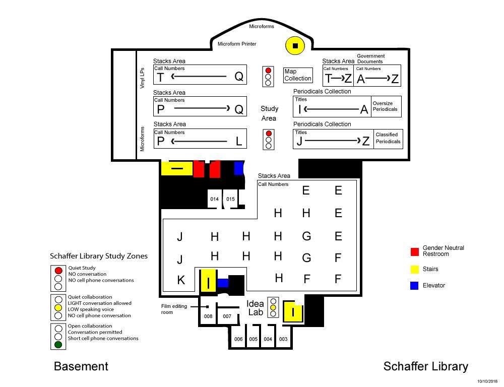 Schaffer Library basement level map