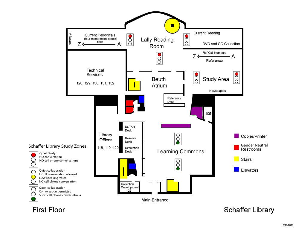 Schaffer Library first floor map