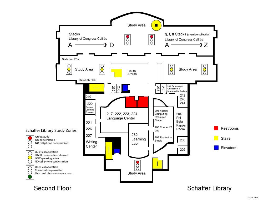 Schaffer Library second floor map