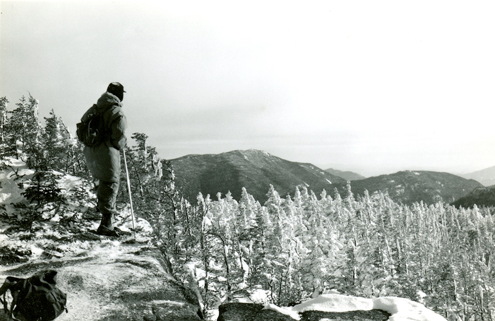 Bob Wiley (#972) on Summit of Armstrong, Nippletop and Colvin in the Background, 2/13/1954