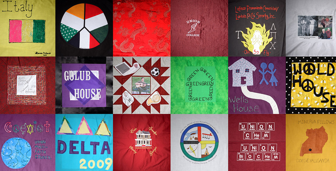 The Union College Unity Quilt hangs in Memorial Chapel