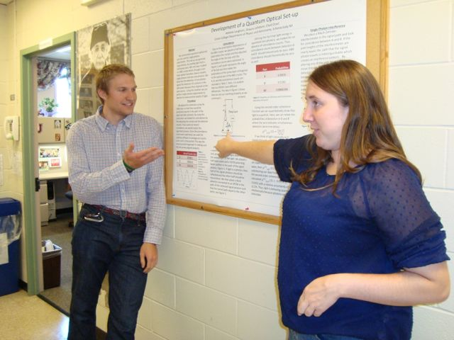 Andrew and Shauna present their research on a quantum optical setup (adviser Chad Orzel).