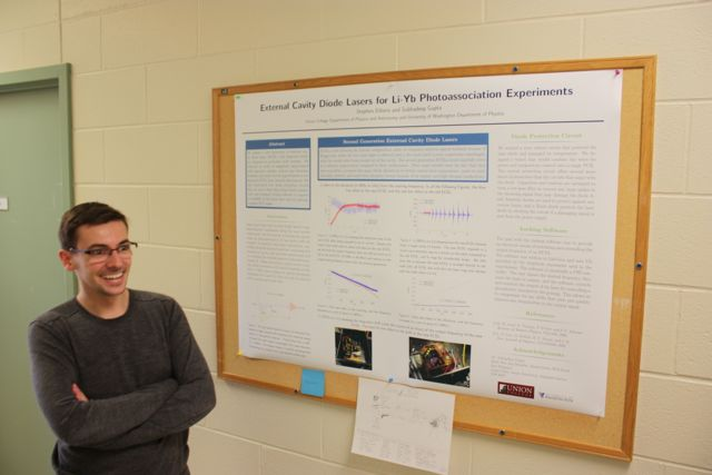 Steve next to poster on applying lasers to photo-association.