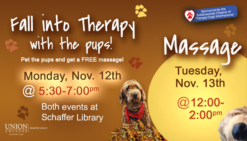Fall Therapy Dogs on November 12th, 2018