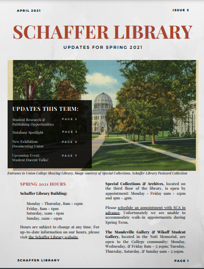 Schaffer Library Newsletter Spring 2021