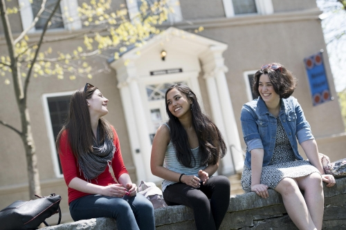 Students relax outside Messa House