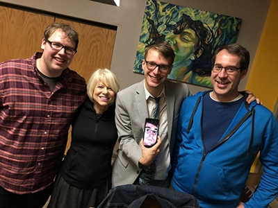 Kevin Jordan, Film Studies Co-Director Michelle Chilcoat, Luke Dyer, AJ Hubbard (on phone) and Luke's father Eric Dyer at the 15 Min Max Film Festival.  Luke wore a suit.