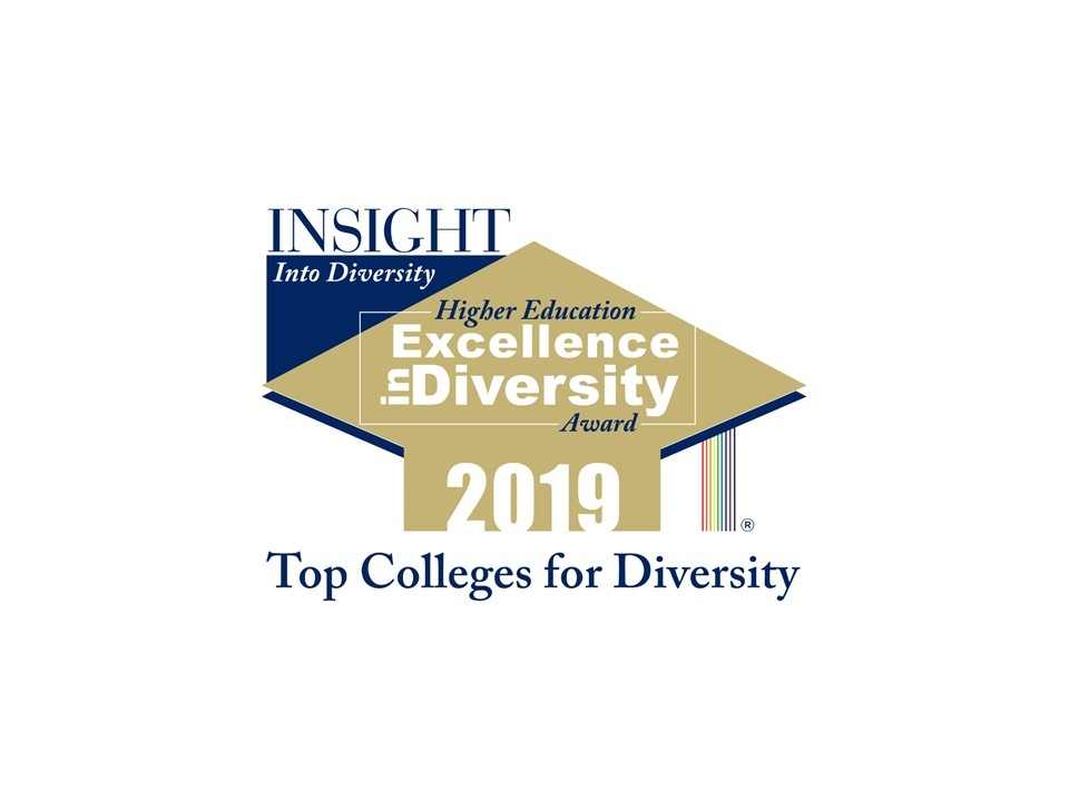 Colorful picture of an award given by Insight Into Diversity for being a Top College for Diversity