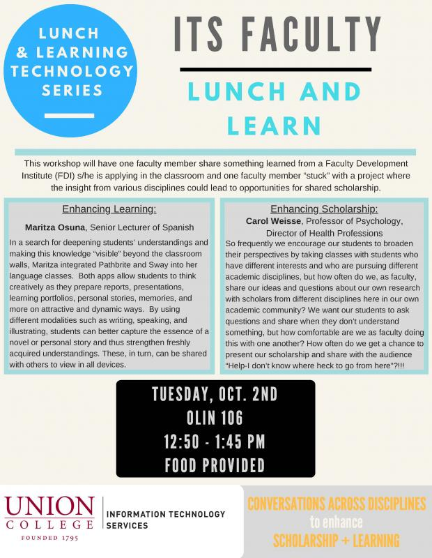 ITS Lunch + Learning Technology Series Flyer: Oct 2