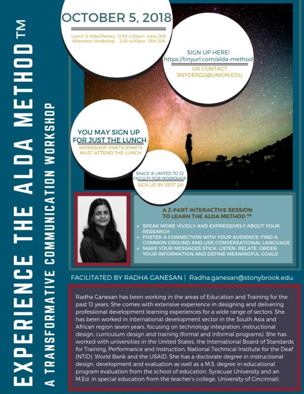 Flyer for Alda Method™Lecture + Workshop: Oct. 5, 2018