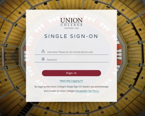 Union College username and password for online access