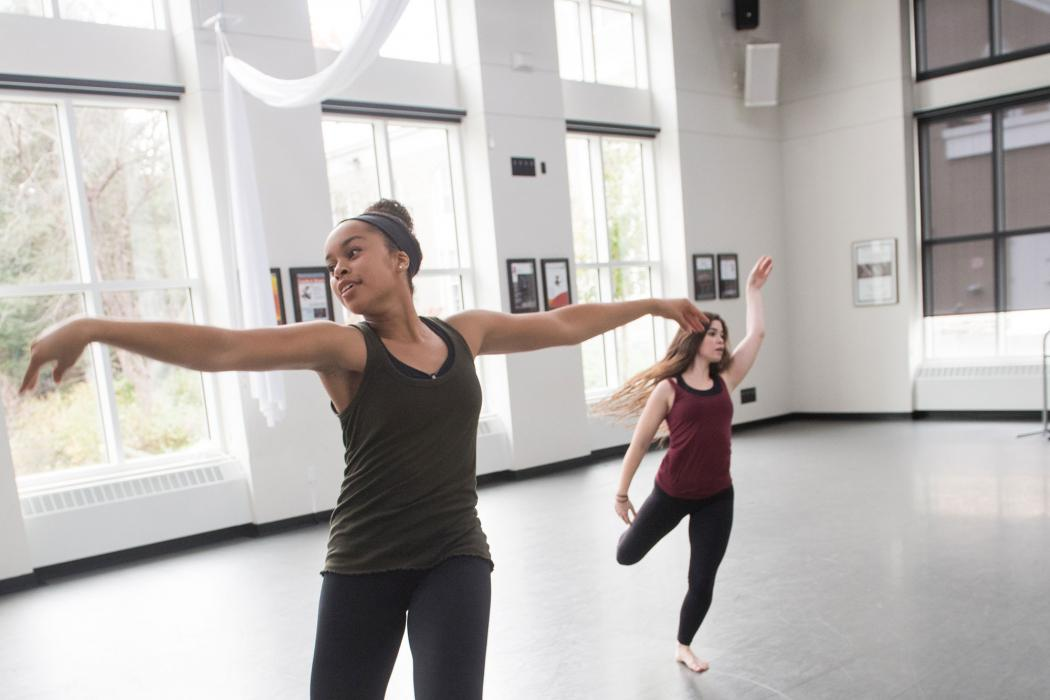 A movement class in the Henle Dance Pavilion