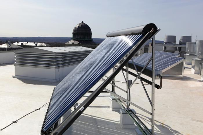 Solar panels on roof of Wold building