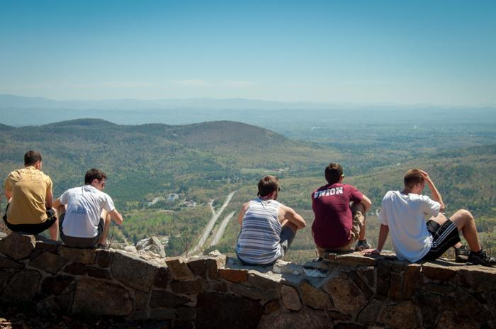 Union students with a view of the Adirondacks