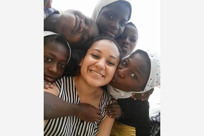 Aubrey Griffin '17 with some of the students she worked with at the Islamic school in Rahmatown, Ghana.
