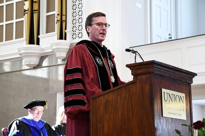 "President Stephen C. Ainlay told the audience that ""Founders Day provides us with an opportunity to revisit Union's history and important themes that flow from our mission and institutional identity,"""