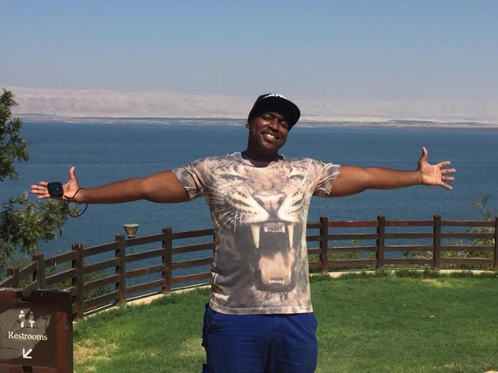 Jermaine Wells at a resort at The Dead Sea on the Jordanian side.