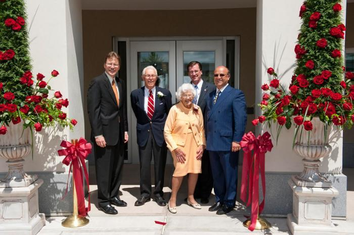 Jane and John Wold '38, with from left, Trustee John E. Kelly III '76, President Stephen C. Ainlay and Trustee Frank L. Messa '73 at the dedication of the Peter Irving Wold Center in May 2011.