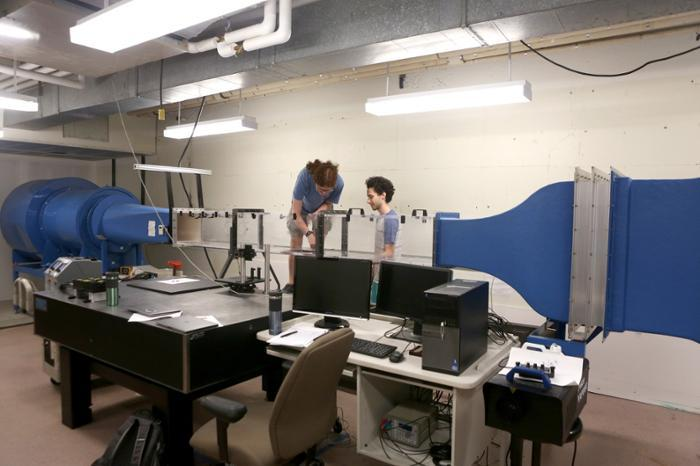 Lindsey Randle '20 and Adam Peterlein '20 are using the wind tunnel in the College's fluid mechanics lab to study turbulent flow over rough surfaces.
