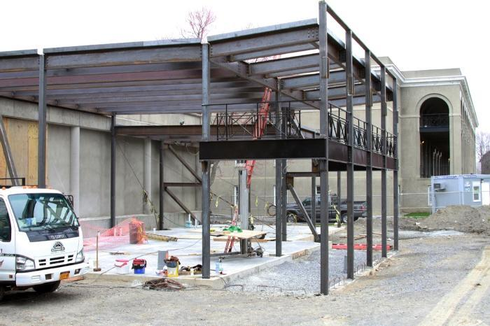 The steel went up this week for the future home of Wicker Wellness Center