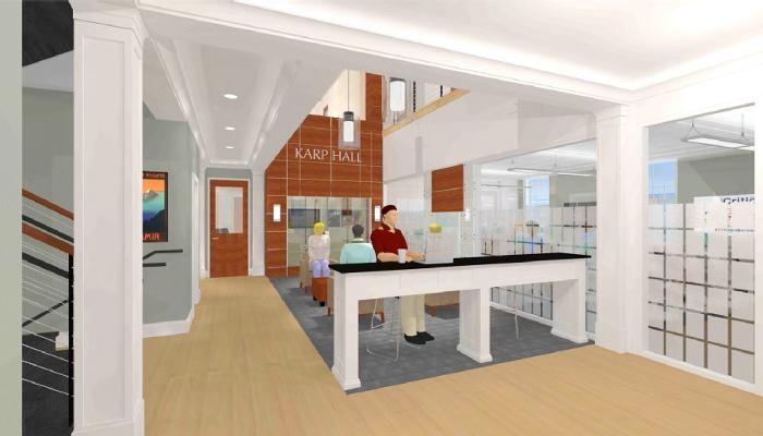 An artist's rendering of the lobby at Karp Hall.