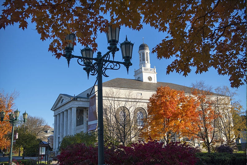 A fall view of Memorial Chapel