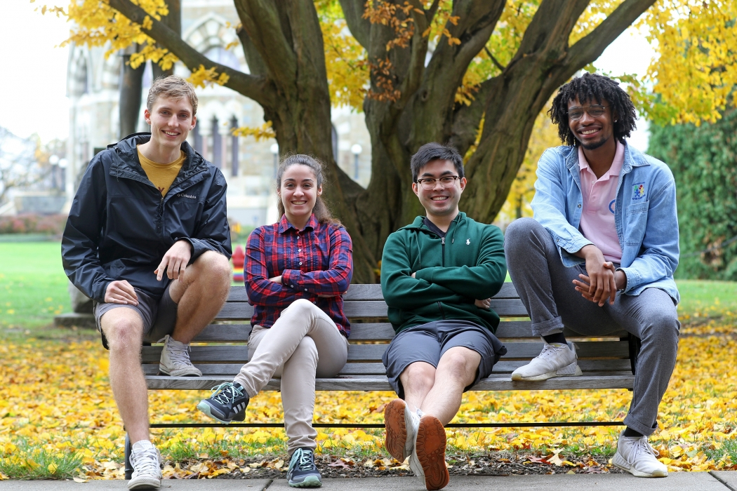 Union's latest University Innovation Fellows: Blake Newcomer '21, an ID major in geology and economics from Stamford, Conn.; Aikaterini Petridou '21, a computer engineering major from Thessaloniki, Greece; Sai Lyon Ho '22; an Interdepartmental major (ID) in economics and computer science from Caracas, Venezuela; and Madison Holley '22, a political science major from Chicago