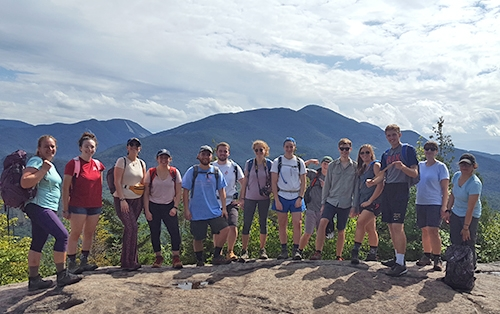 Union College students hiking Mt. Jo in the Adirondack mountains