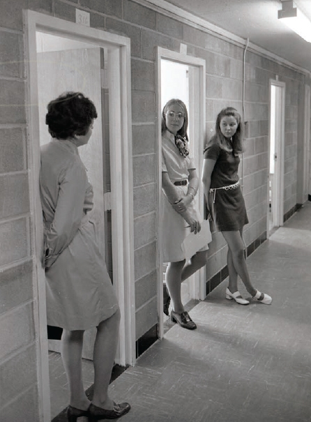 Some women students in one of the dorms circa 1970s.
