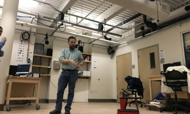 Using a student-designed robot, John Rieffel, associate professor of computer science, demonstrates how a new high-speed, high precision 3D motion capture system will transform research at Union.