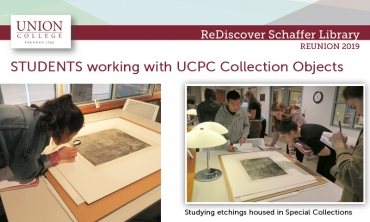 Students studying etchings in Special Collections Schaffer Library