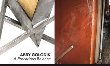 "An exhibition of sculpture and photography, titled ""Abby Golodik '18: A Precarious Balance & Frank Rapant '07: After the Fire,"""