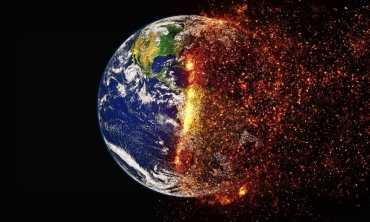 Photo of the earth and half is on fire