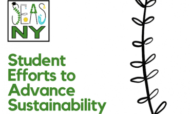 A graphic that says: Student efforts to advance sustainability