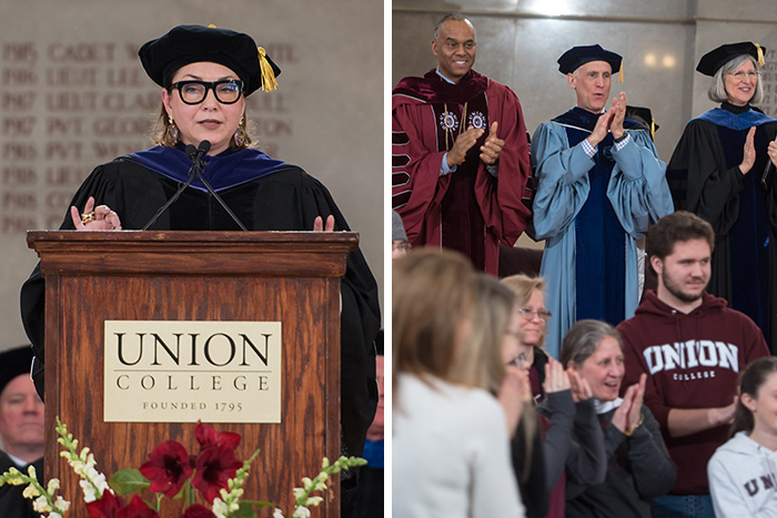 Left: Union trustee and Founders Day speaker Kelly Williams '86. Right (top row): President David Harris, Dean of the Faculty and Vice President for Academic Affairs Strom Thacker, Kathleen LoGiudice, professor and chair of the Biology Department and the college marshal