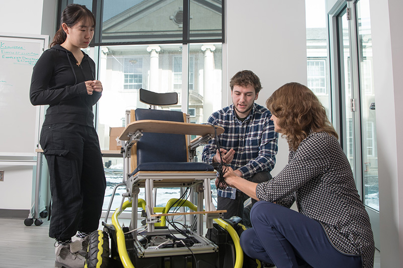 Engineering students Yueyin Su and Benjamin Davis collaborated with Professir Traver on the replicable power wheelchair.