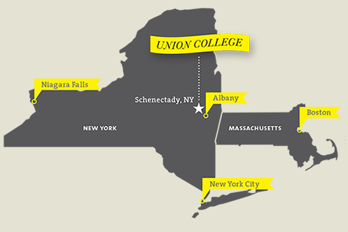 A map showing Union's location